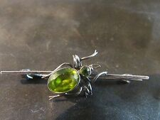 Art Deco Charles Horner Rare Solid Silver & Peridot Bug/fly Brooch, Chester,1922