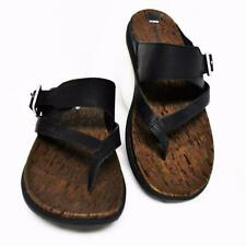 Merrell Around Town Buckle Womens 7 38 Thong Sandals Black Leather Slide NEW