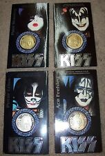 KISS SET OF 4 INDIVIDUALLY PACKAGED SILVER COMMEMORATIVE COINS STILL SEALED!!!