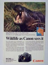 1987 Canon EOS 650 SLR Camera Hippopotamus Magazine Print Advertisement Page