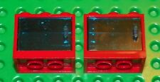 LEGO - Container Cupboard 2 x 3 x 2 - (X2) - Red / Trans-Blue Doors