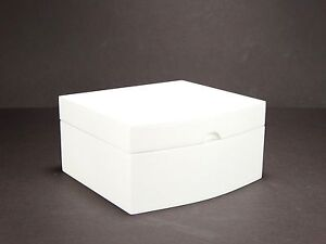 White Wooden Small Jewellery + Watch Box With Interior Mirror Ring Rolls #1