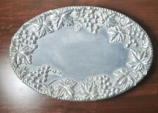 """Lenox Pewter Small Grapevine Serving Platter Silver 9"""" x 6"""" Oval"""
