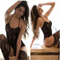 Women Fashion Crotchless Bodysuit Lingerie Fishnet Lace Underwear