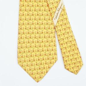 SALVATORE FERRAGAMO TIE Rabbit & Heart on Yellow Classic Silk Necktie