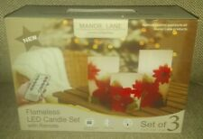 NEW Manor Lane Home Collection Flameless LED Poinsettia Candle Set With Remote