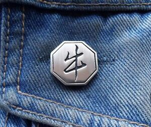 Chinese Year of the Ox Pewter Pin Badge