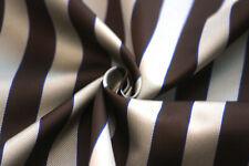 Brown Grey Striped Silk Fabric F091