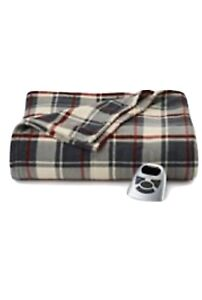BIDDEFORD MicroPlush King ELECTRIC BLANKET with DUAL CONTROLLERS Plaid Maroon