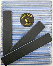 """50pc Nail File Black Jumbo 80/100 Grit Square Shape 7x1"""" Plastic Sanding File"""
