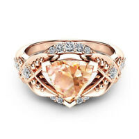 Gorgeous Cocktail Ring for Women Rose Gold Filled Citrine Wedding Ring Size 6-10