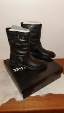DUNE LONDON RAFFLE LEATHER BIKER BOOTS  BLACK UK 4 EU 37