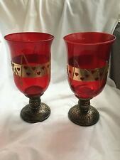 PAIR OF UNUSUAL RED GLASS TEA LIGHT HOLDERS WITH GOLD DESIGN AND RED HEARTS #W/B