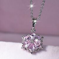 18k white gold gp made with pink swarovski crystal snowflake pendant necklace