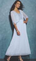 Midnight Velvet Blue Formal Wedding Dahlia Beaded Jacket Dress Gown M L 1X
