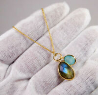 "Solid 925 Silver Jewelry 4.5g Labradorite Gemstone Gold Necklace 16+2"" MN1922"