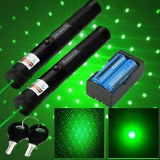 500Miles Rechargeable Green Laser Pointer Pen Tactical Beam+Star Cap+Battery Usa