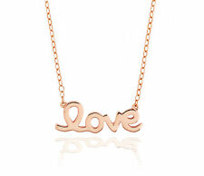 "Sterling Silver ""Love"" Necklace Adjustable 16 - 17.5 Inch Rose Gold Plated NR"