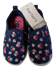 Carter's Baby Girls Slip On Canvas Shoes, Navy Floral, Size 9-12 Months, NWT