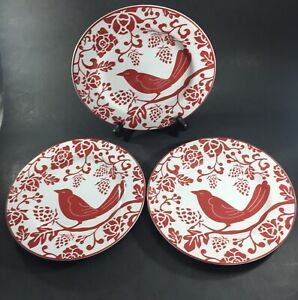 "Pier One Red Bird Salad Dessert Plate 8 1/4"" Lot Set of 3 Pier 1"
