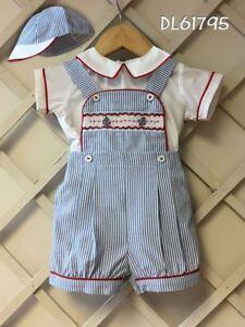 Pretty Originals Baby Boy 2 Piece Suit White/ Blue Stripe 3m 6m 12m 18m DL61795