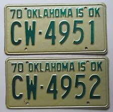 Oklahoma 1970 CONSECUTIVE NUMBER License Plates HIGH QUALITY # CW-4951 & CW-4952
