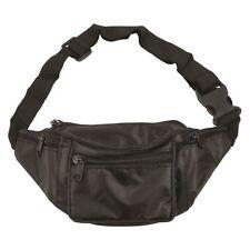 BLACK BUM BAG WITH 4 ZIPPED POCKETS SECURITY SAFE TRAVEL MONEY WAIST BELT WALLET