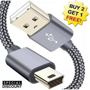USB 2.0 A to Mini B 5-Pin USB Male Data Sync Charger Cable PC GPS Camera DS PS3