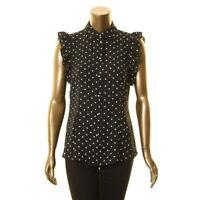 ANNE KLEIN Women's Ruffle Sleeve With Peter Pan Collar Blouse Shirt Top TEDO