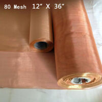 "80 Mesh 200 Microns Copper Woven Wire Filter Sheet Screen 12X36"" Practical Stock"