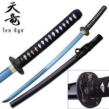 "JAPANESE SWORD | 41"" Ten Ryu Carbon Steel Blue Blade Sharp Samurai Katana"