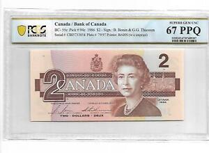 Canada/Bank of Canada Pick#94c 1986 $2 PCGS 67 PPQ
