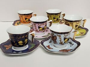 Set 6 CC & T CC&T Demitasse Coffee & Tea Cups Butterflies Assorted Colors NEW