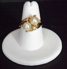 Faux Pearls and Diamond-Look Ring Size 6 3/4