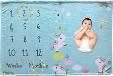 Adorable Blue Weekly Or Monthly Newborn Milestone Baby Blanket, 60'' x 40''