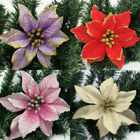Hot 1x Fabric Flower Paillette Christmas Tree Hanging Santa Xmas Party Ornaments