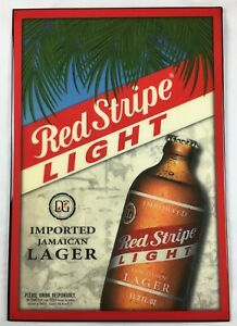 """Red Stripe Light Beer Sign 24"""" x 16.5"""" Imported Jamaican Lager Lacquer Finished"""