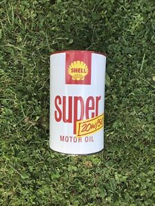 Vintage Super Shell Oil Can NOS Petrol Pump Petrol Can Enamel Sign Oil Jug
