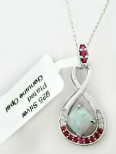 GENUINE 0.74 Cts OPAL & RUBIES PENDANT NECKLACE 925 Silver ** NEW WITH TAG