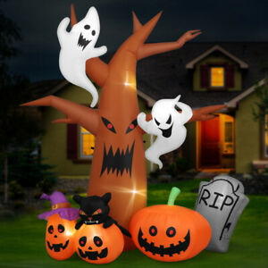 8FT Blow up Outdoor Decoration Halloween LED Inflatable Pumpkin Ghost & Light