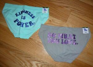 Girls Set of 2 Justice Size 12 Underwear BNWT Gray & Mint Green Sparkles