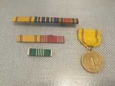 WW2 American Defense Medal and 3 Ribbon Bars