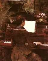 Fine Oil painting female portrait Abbema Louise At The Piano free shipping cost