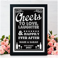 Cheers to Love PERSONALISED Wedding Signs Alcohol Bar Drinks Table Vintage Signs