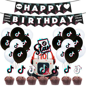 42pcs TIKTOK Music Notes Happy Birthday Banner Cake Topper Balloons,cumple