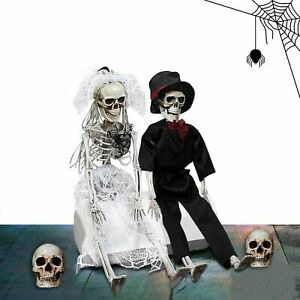 Large Poseable Full Life Size Human Couple Skeleton Prop Halloween Party Decor F