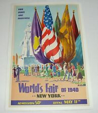 ORIG 1940 NY WORLD'S FAIR PEACE AND FREEDOM POSTER LINEN BACKED POLYGRAPHIC 1939