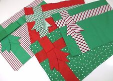 Christmas Place Mats Set of 4  Gift Wrap Bows Red Green Stripes Dots Hand-Look