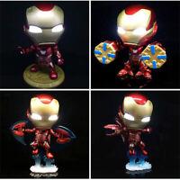 4pcs Avengers Endgame Iron Man Cosbaby MK50 LED Shake Head Decorated Figure