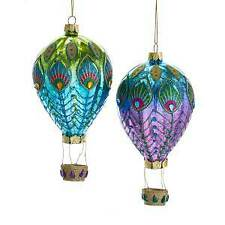 Set of 2 Glass Peacock Hot Air Balloon Ornaments w